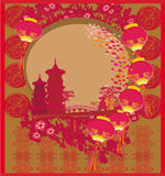Chinese New Year card - Traditional lanterns and Asian buildings. Illustration stock illustration