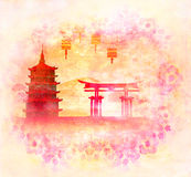 Chinese New Year card - Traditional lanterns and Asian buildings Stock Photography