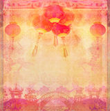 Chinese New Year card - Traditional lanterns and Asian buildings Royalty Free Stock Images