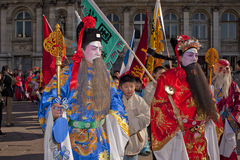 Chinese New Year Carnival. Paris, France, Chinese New Year Carnival, Asian Men in Traditional Dress Stock Photography
