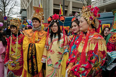 Chinese New Year Carnival,  Teens in Costumes. Paris, France, Chinese New Year Carnival Royalty Free Stock Image