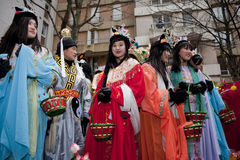 Chinese New Year Carnival,  Teens in Costumes. Paris, France, Asian Teens in Costumes, Chinese New Year Carnival Stock Photography