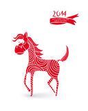 Chinese New Year cartoon horse illustration. 2014 Chinese New Year of the Horse funny cartoon  illustration. EPS10 vector file with transparency layers Royalty Free Stock Photo