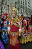 Chinese New Year Celebration. Paris, France, Chinese New Year Carnival, Asian Man in Traditional Costumes Stock Photo