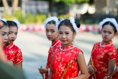 Chinese New Year celebration. Hua Hin, Thailand - January 30, 2014: The Chinese New Year celebrated by a group of school children in Hua Hin. In Thailand New Stock Photos