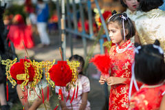 Chinese New Year celebration. Hua Hin, Thailand - January 30, 2014: The Chinese New Year celebrated by a group of school children in Hua Hin. In Thailand New Stock Images