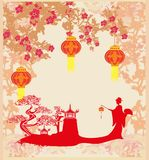 Chinese New Year celebration card. Vector Illustration Royalty Free Stock Photo