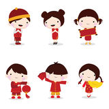 Chinese new year celebration of children. Cute chinese new year celebration of children Stock Image