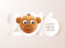 Chinese New Year celebration with cute Monkey. Stylish paper text 2016 with cute face of Monkey for Chinese New Year celebration royalty free illustration