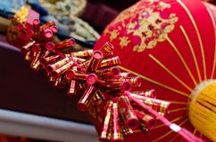 Chinese New year celebration. Chinese New year decoration of Firecracker and red lantern. Chinese New Year, also known as the Spring Festival in modern China Stock Photos