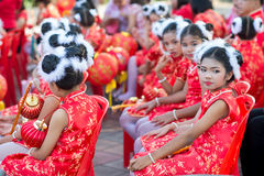 Chinese New Year celebration. Hua Hin, Thailand - January 30, 2014: The Chinese New Year celebrated by a group of school children in Hua Hin. In Thailand New Royalty Free Stock Photos