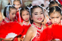 Chinese New Year celebration. Hua Hin, Thailand - January 30, 2014: The Chinese New Year celebrated by a group of school children in Hua Hin. In Thailand New Royalty Free Stock Photography