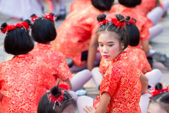 Chinese New Year celebration. Hua Hin, Thailand - January 30, 2014: The Chinese New Year celebrated by a group of school children in Hua Hin. In Thailand New Stock Photography
