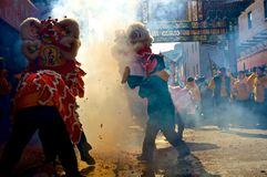 Chinese New Year. Celebration of the Chinese New Year in Philadelphias own Chinatown, with the traditional firecracker launched at the Dragon Royalty Free Stock Photos