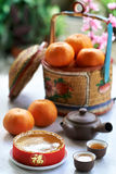 Chinese new year celebration. Traditional gift of glutinous rice cake and basket of mandarin oranges in celebration of chinese new year spring festival Stock Photography