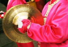 Chinese New Year celebrations - close-up of a female drummer. Royalty Free Stock Image