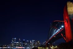Chinese New Year celebrations turned Sydney Harbour Bridge red Stock Images