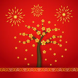 Chinese new year cerabration background. Chinese new year with cherry blossom tree and fireworks on red background Stock Image