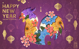 2017 Chinese New Year. Chinese characters: rooster year beside the silhouette. Golden lantern on the purple background and rooster silhouette with floral royalty free illustration