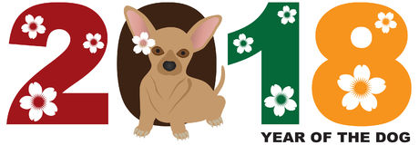 2018 Chinese New Year Chihuahua Dog vector Illustration Stock Image