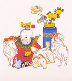Chinese New Year, children. The traditional Chinese New Year pictures is one of the Chinese painting. Started in the ancient goalkeeper painting, mostly posted stock illustration