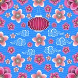 Chinese New Year. Chinese lantern, Chinese clouds, plum and peach flowers. Blue background with pattern. Seamless pattern. Chinese New Year. Chinese lantern royalty free illustration