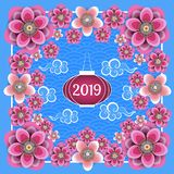 Chinese New Year 2019. Chinese lantern, Chinese clouds, plum and peach flowers. Frame, blue background with pattern. Chinese New Year 2019. Chinese lantern stock illustration