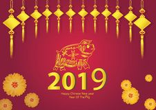 2019 Chinese New Year of Pig Vector Design for text and greetings card, banners, calendar royalty free stock photo