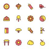 Chinese New Year. Thin outline flat design icons Stock Images