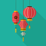 Chinese new year, clean flat design with lanterns Royalty Free Stock Photography