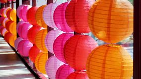 Chinese new year colorful lanterns sunshiny. Abstract, art, asia, asian, background, beautiful, bright, chinese, closeup, color, colorful, culture, decoration Stock Images