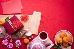 Chinese new year composition background, Year of the zodiac. copy space. Top view stock image