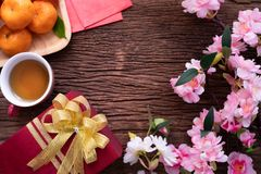 Chinese new year composition set on wood table stock photo