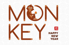 Chinese new year 2016 concept cute text card. 2016 Happy Chinese New Year of the Monkey. Illustration with cute cartoon ape as text, greeting card design. EPS10 Vector Illustration