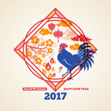Chinese New Year Concept Frame with Rooster. Chinese 2017 New Year Creative Concept with Colorful Rooster, Clouds and Flowers. Vector illustration. Season Stock Image