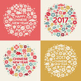 2017 Chinese New Year Concepts. With Asian Signs and Symbols in Circle Shape. Vector illustration Royalty Free Stock Photo