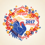 Chinese New Year Creative Concept Frame. Chinese 2017 New Year Creative Concept Frame with Crowing Rooster, Clouds and Flowers. Vector illustration. Season Stock Images