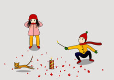 Chinese new year  custom. A boy and a girl are  letting off firecrackers with a cat running away Stock Images
