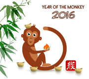 Chinese new year 2016 cute ape cartoon card. 2016 Happy Chinese New Year of the Monkey. Cute cartoon ape fun illustration with peach and ingot as hat. EPS10 Royalty Free Illustration