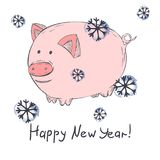 Chinese New Year 2019 Cute Pig Zodiac Character Vector Illustration vector illustration
