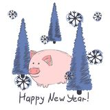 Chinese New Year 2019 Cute Pig Zodiac Character Vector Illustration. Cartoon Greeting Card stock illustration