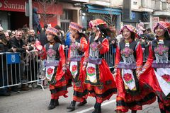 Chinese New Year dance and parade in the Usera neighborhood, Madrid, Spain stock photos
