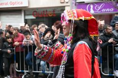 Chinese New Year dance and parade in the Usera neighborhood, Madrid, Spain stock images