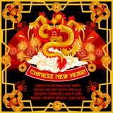 Chinese New Year dancing dragon greeting card. Of Oriental Spring Festival. Dragon with red paper fan, firework and cloud on background festive poster, framed vector illustration