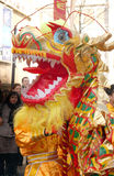 Chinese new year day. The parade of the Chinese new year day in Chinatown in Paris in France