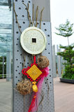 Chinese New Year decor with coin bag. Chinese New Year decor with a coin bag that signifies wealth and prosperity Royalty Free Stock Photo