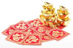 Chinese new year decoration. Chinese new year ornament--Stack of gold ingots and Blessing word