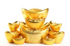 Chinese new year decoration. Chinese new year ornament--Stack of gold ingots on white background