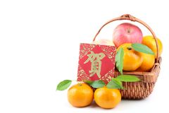 Chinese New Year Decoration. Basket of Apples and Oranges with Blessing Words