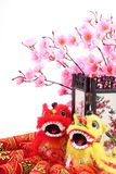 Chinese New Year Decoration. Chinese new year ornament--Traditional dancing lions,firecrackers,screen and plum blossom